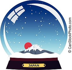 Snow globe city. Japan. Mountain in Snow Globe. Winter travel vector illustration.