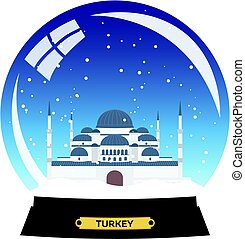 Snow globe city. Turkey. Winter travel vector.