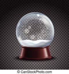 Snow Globe Composition - Realistic colored snow globe...