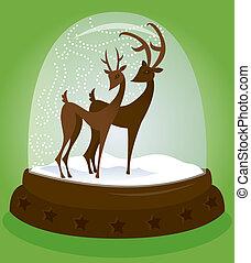 Snow Globe Deer