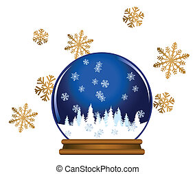 Snow Globe - Illustration of a snow globe with snowflakes...