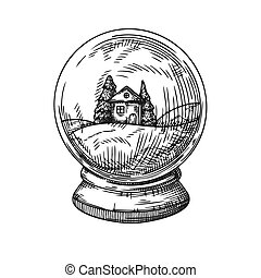 Snow globe isolated on white background. Sketch