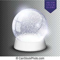Snow globe isolated template empty on transparent...