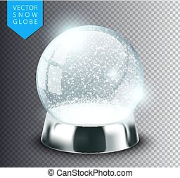 Snow globe isolated template empty on transparent background. Christmas magic ball. Realistic Xmas snowglobe vector illustration. Winter in glass ball, crystal dome icon snowflake and silver stand