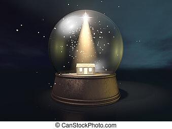 Snow Globe Nativity Scene Night