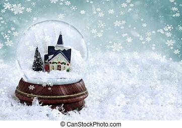 Snow Globe - Snow globe with church and christmas trees...