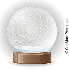 snow globe transparent vector illustration isolated on white background