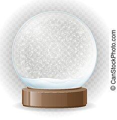 snow globe transparent vector illustration isolated on white...