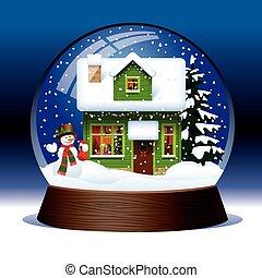 Snow globe - Vector snow globe with snowman, green wooden...