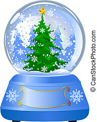 Snow globe with a Christmas tree