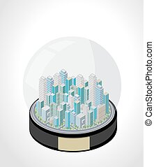 Snow globe with a isometric city