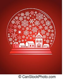 snow globe with a town and snowflakes, vector illustration