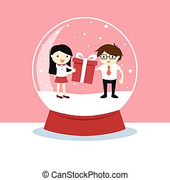 Snow globe with a woman and a man