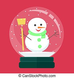 snow globe with christmas decoration inside. vector illustration.