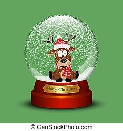 Snow globe with christmas deer