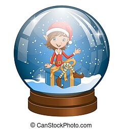 Snow globe with Christmas elf on the gift inside
