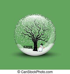 Snow globe with christmas snowman