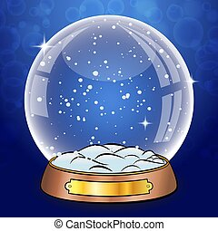 Snow Globe With Falling Snow. Empty Glass Sphere Dome. Big transparent globe ball on stand with glares and highlights. Winter christmas background for your design and business.