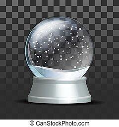 Snow globe with falling snowflakes.