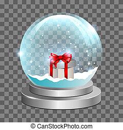 Snow globe with gift box