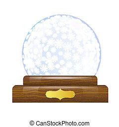 Snow globe with snowflakes