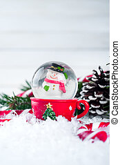 snow globe with snowman on festive background