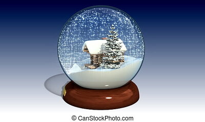 Snow globe with the falling shiny snow