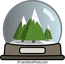 Snow globe with three Christmas trees