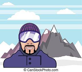 Snow goggles. mountains landscape.