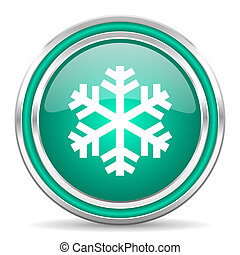 snow green glossy web icon