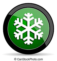 snow green web glossy icon with shadow on white background
