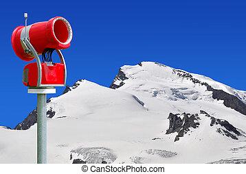 Snow gun in the Swiss Alps