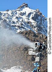 Snow Gun in Whakapapa skifield on Mount Ruapehu.Snow making...