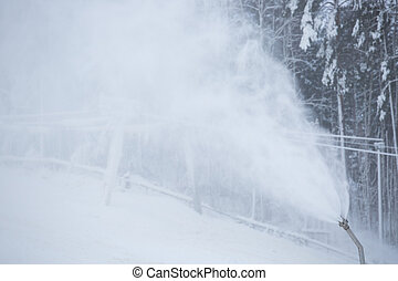 Snow gun working