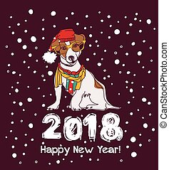 snow happy new year card 2018 dog