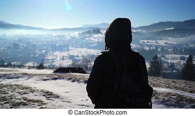 Snow Hiking Blizzard Man Cold Winter