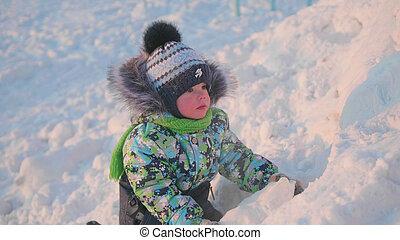 snow., hiver, ensoleillé, parc, air., day., petit, jeux, enfant, amusement, frais, jouer