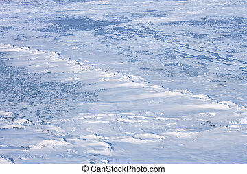 Snow hummocks on the ice