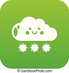 Snow icon green vector