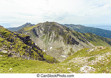 Snow in Fagaras Mountains in summer season