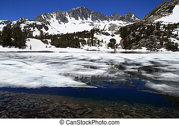 snow in mountain lake