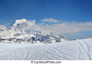 Snow in mountain under blue sky