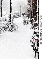 Snow in the city - snowstorm, streetview, bikes