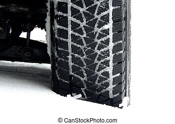 Snow in tire tread blocks at the car at snowy country road