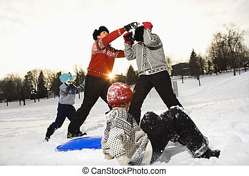snow., jouer, famille