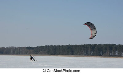 snow kiting in the winter season