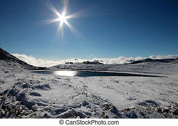 Snow, Lake and Sun