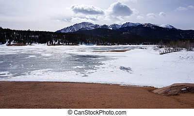 Snow lake under the mountain in the winter