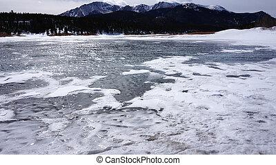 Snow lake under the mountain