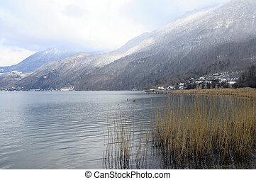 Snow landscape, Annecy lake in winter, Savoy